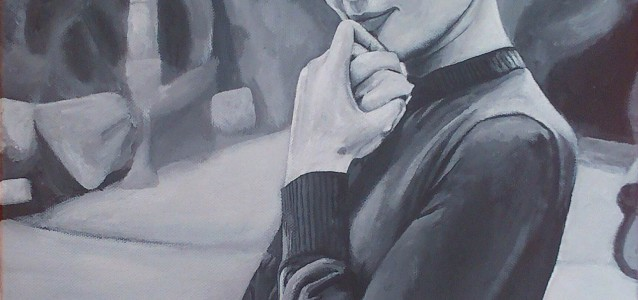 "AUDREY - commissioned piece for a friend's mums birthday. Audrey Hepburn, done from a rather obscure photo, in standard b&w acrylic on 18"" x 14"" box canvas (FEB 2014) SOLD"