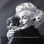 "BEAUTY AND THE CUTIE - done in a single, inspired day after watching a film about Marilyn Monroe and her rather tragic life. Done in acrylics on 18x14"" box canvas (29th DEC 2015) SOLD £120.00 at Galleria, Rainhill (29/03/16)"