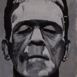 "BORIS - my first commissioned piece, Boris Karloff, acrylic on 10"" x 8"" box canvas (MAY 2013) SOLD"