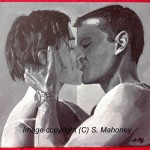 "BOURNE TO KISS - scene from The Bourne Identity where Jason (Matt Damon) gets into a clinch with Marie just after he has cut her hair, acrylic on 16"" x 12"" box canvas (JUNE 2013)"