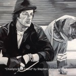 "CHAMP'S BEST FRIEND - painted from a photo taken on the set from Rocky II, i just love it. Stallone (Rocky) and Butkus his dog in the movie. Done on 18""x14"" box canvas in b&w acrylics (SEPT-DEC 2015) SOLD at Galleria, Rainhill"