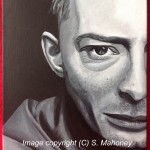 "CREEP - Radiohead lead singer Thom Yorke in b&w acrylic on 16"" x 12"" canvas (DEC 2013)"