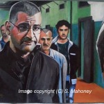 """DON PIETRO - this is a scene taken from the brilliant Italian crime series 'Gomorra', where boss Pietro Savastano is once again at odds with the prison warden.  Done on 16"""" x 12"""" canvas textured paper in acrylics (JAN 2015)"""