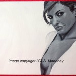 "EVA - a larger than usual 18"" x 14"" box canvas in b&w acrylic of actress Eva Mendes (NOV 2013)"