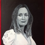 "EMILY - english actress Emily Blunt, acrylic on 16"" x 12"" box canvas (JULY 2013)"