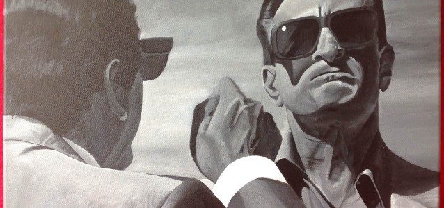 "GET THIS THROUGH YOUR HEAD YOU - Nicky (Joe Pesci) confronts Ace (Robert De Niro) in the Nevada desert in a classic scene from 1995 film ""Casino"". Painted on 20"" x 16"" box canvas in standard b&w acrylic. (MAY 2014)"
