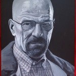 """HEISENBERG - commissioned piece of 'Walter White' from 'Breaking Bad' US TV series, done on 16"""" x 12"""" box canvas in b&w acyrlic (SEPT 2013) SOLD"""