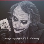 "JOKERMAN - Heath Ledger as 'The Joker' from ""The Dark Knight"", commissioned piece done in b&w acrylic on an 18"" x 14"" box canvas (JAN 2014) SOLD"