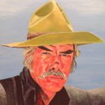 "MONTE - Commissioned painting of Lee Marvin as ""Monte Walsh"" done on 18"" x 14"" box canvas in colour acrylics (AUG-SEPT 15) SOLD."