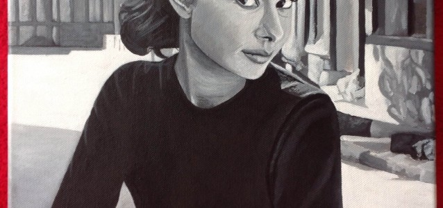 "MY FAIR LADY - I had to paint an Audrey Hepburn piece for myself after thoroughly enjoying painting the commissioned ""Audrey"" piece last time. Again it's in b&w acrylic on 18"" x 14"" box canvas (MAR 2014) SOLD FOR 180.00GBP IN DEC 2015"