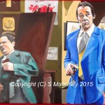 "NICE AND COOL - that classic scene from ""Only Fools And Horses"" when Del Boy and Trigger are on the pull and Del says ""Just play it nice and cool son, nice and cool, know what I mean?"" as he falls through the bar with a bang! Legendary scene, done on 16""x12"" box canvas in acrylic (APR-MAY 15) 