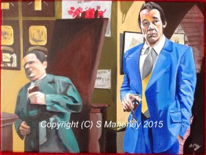 "NICE AND COOL - that classic scene from ""Only Fools And Horses"" when Del Boy and Trigger are on the pull and Del says ""Just play it nice and cool son, nice and cool, know what I mean?"" as he falls through the bar with a bang! Legendary scene, done on 16""x12"" box canvas in acrylic (APR-MAY 15)"