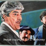 "NO MORE SHINES - the scene from 'Goodfellas' where Billy Bats (main guy in picture, actor Frank Vincent) tells Tommy to ""go get your fuckin shine box!"". He is soon killed. Done on 16"" x 12"" canvas textured paper in acrylics (DEC 2014 - JAN 2015)  PRINTS AVAILABLE - SEE ""PRINTS SALE"" PAGE"