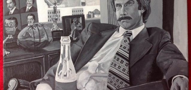 "PAPA BURGUNDY - Ron Burgundy (Will Ferrell) from the original Anchorman movie, in black and white acrylic on a 16"" x 12"" canvas (DEC 2013)"
