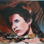 "PRINCESS IN CHAINS - the beautiful 'Princess Leia' in ""Return Of The Jedi"". I saw this film in the pictures when I was about 5 or 6 and, even at that tender age, I was aware of the sexiness of this scene! Done on 16"" x 12"" canvas textured paper in acrylic (FEB - MAR 2015)"