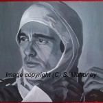 "SENNA - commissioned piece of motor racing legend Ayrton Senna, done on 16"" x 12"" canvas paper (JULY 2014) SOLD"