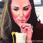 "THE DUCHESS IN LIVERPOOL - Kate Middleton visiting the Brink non-alcoholic bar in Liverpool on Valentine's Day 2012, drinking a smoothie which she mostly made herself. Gorgeous girl.   Done on 16"" x 12"" box canvas in acrylics (JUNE 2015)"