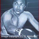 "THE GREATEST - commissioned piece of Ali done on 18"" x 14"" box canvas in usual b&w acrylic (FEB 2014) SOLD"