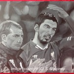 "THE TACTICIAN AND THE MAGICIAN - Liverpool manager Brendan Rodgers and the remarkable Luis Suarez, in b&w acrylic on 18"" x 14"" box canvas (MAR/APR 2014)"
