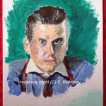 "THE TRADER - my first attempt at painting: Gordon Gecko from ""Wall Street"" film. NOTHING LIKE HIM! Acrylic on 7"" x 5"" canvas panel (APR 2013)"