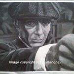 """THOMAS SHELBY - taken from a scene from """"Peaky Blinders"""" where Cillian Murphy's character shoots 'Billy Whizz-bang' in the back of the head. What a series! Done on 16"""" x 12"""" canvas textured paper in black and white acrylic (OCT-DEC 2014)"""
