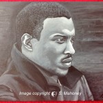 "TOP BOY - actor Ashley Walters on 16"" x 12"" x 1.5"" box canvas in b&w acrylic. Not a good likeness at all, really struggled with this for some reason OCT 2013)"