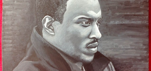 "TOP BOY - actor Ashley Walters on 16"" x 12"" x 1.5"" box canvas in b&w acrylic. Not a good likeness at all, really struggled with this for some reason (OCT 2013)"