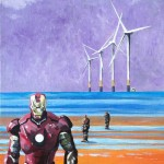 "ANOTHER STARK PLACE - one of five new 12x9"" acrylic pieces to accompany ""The Light Knight"" which was painted in 2016. The fictional back story to this piece is that Anthony Gormley's 'Another Place' installation at Crosby beach is not art but is in actual fact the reminants of numerous Iron Man suit trials that never made the grade (APRIL '17)"