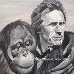 "CLINT 'N CLYDE - Painted from a beautiful photo depicting the bond between man and animal, in this case Clint Eastwood and ""Clyde"" on the set of ""Every Which Way But Loose"" (I assume). Done on 18x14"" box canvas in acrylics (FEB '16)"