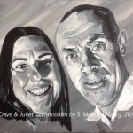"DAVE & JULIET - commission on a 12x9"" stretched canvas painted in acrylics (JULY 2020) *SOLD"