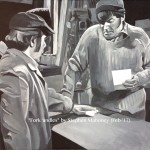 "FORK 'ANDLES - the first of a new series of works capturing classic moments in British comedy, this being the Two Ronnies' classic fork handles/four candles sketch. Done on 18x14"" canvas in acrylics (FEB '17) SOLD £160.00 at Galleria, Rainhill"
