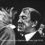 "HOWARD'S WAY - a great photo from Everton's 1987 championship winning season was the inspiration behind this painting of legendary manger Howard Kendall. Done on 12x9"" box canvas in acrylics (JULY '16) SOLD £69.00 at Galleria, Rainhill"