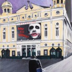 "I STARTED A JOKE - the fourth of five new 12x9"" acrylic pieces to accompany ""The Light Knight"" which was painted in 2016. The fictional back story to this piece is that The Joker was in fact a former stand-up comedian who turned to crime when his show at Liverpool's Playhouse Theatre bombed and he was humiliated (APRIL '17)"