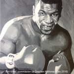 "IRON MIKE - a commission for Christmas of Mike Tyson, with the clients' childrens initials painted on the glove instead of ""Everlast"". Done on 12x9"" box canvas in acrylics (DEC '16) SOLD"