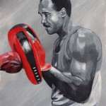 KENNETH WILLWORD FRANKLIN 1949-1994 - a commission painted on a 40x50cm canvas sheet, taking roughly 8hrs overall and featuring the client's father in classic boxing pose holding the hook and jab pads (OCT 2019) SOLD