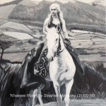"KHALEESI RIDER - wanting to attempt to paint a horse for a while now, I found a great photo from the very much in vogue ""Game Of Thrones"", and completed it in just one day! Done on 12x9"" box canvas in acrylics (MAY '16) £79.00 at Artshub47, Liverpool"