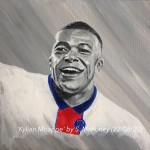 "KYLIAN MBAPPE - 12x9"" stretched canvas painted in acrylics (AUG 2020)"