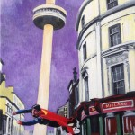 "LEANING TOWER OF LIVERPOOL - the second of five new 12x9"" acrylic pieces to accompany ""The Light Knight"" which was painted in 2016. The fictional back story to this piece is that Superman was an alcoholic and in the late 70's he got so drunk once that he flew into St John's beacon causing it to tilt, giving writers the idea for the Leaning Tower Of Pisa scene in Superman III (APRIL '17)"