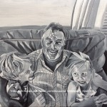 "MIKE WITH ROHAN AND HATTIE - a very special commission off to France, done in acrylics on an 18x14"" box canvas (APRIL 2017) SOLD"