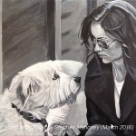 "PACO AND OLIVIA - lovely photo of Olivia Wilde and her beloved rescue dog Paco. Much respect for this actress. Painted in acrylics on 18x14"" canvas (MAR '16) £149.00 at Galleria, Rainhill"
