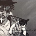 "PETE 'N PUSS - after seeing that Pete Doherty is due to headline Liverpool's Sound City festival this May, i decided to paint him in the hope of doing a similar charity project like last year with Wayne Coyne. This is done on a small 12x9"" box canvas in acrylics (APR '16) NOT FOR SALE"