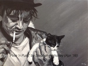 "PETE 'N PUSS - after seeing that Pete Doherty is due to headline Liverpool's Sound City festival this May, i decided to paint him in the hope of doing a similar charity project like last year with Wayne Coyne. This is done on a small 12x9"" box canvas in acrylics (APR '16) TO BE AUCTIONED MAY/JUNE"