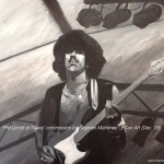 "PHIL LYNOTT IN SLANE - a very special commission, a daughter's Christmas present for her dad who was at the gig and took the photo (in 1981) I worked from. Done in acrylics on an 18x14"" canvas, taking just over 6hrs overall (DEC 2018) *SOLD"