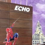 "SCOUSE SUPERHERO SCANDAL - one of five new 12x9"" acrylic pieces to accompany ""The Light Knight"" which was painted in 2016. The fictional back story to this piece is that Spiderman is a former Echo employee who is now blowing the whistle on Liverpool's superhero cover-up spanning over 40 years (APRIL '17)"