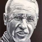 "THE TROPHY WINNERS (SHANKLY) - one of eight 12x9"" canvases painted in acrylics to celebrate LFC's rich history and to emphasise that success in football is measured in silverware and not money. Bill Shankly took roughly 9hrs to complete (APR-JUNE 2017)"