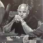 "STUART - commissioned by a friend I used to work at BT with, this was done for her fella as a father's day present from the kids. This is Stuart Atkin at the WSOP 2009 where he won a bracelet! DOne on 18x14"" box canvas in acrylics (MAR-APR 2016) *SOLD"