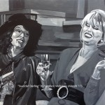 "SWEETIE DARLING - the third in a new series of works capturing classic moments in British comedy, this time of those good time girls Edina and Patsy from Absolutley Fabulous. Done on 18x14"" canvas in acrylics (MAR '17) £179.00 at Galleria, Rainhill"