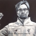 "THE FINALIST - Jurgen Klopp in a rare, calm, triumphant moment after the amazing comeback against Borussia Dortmund at Anfield in the Europa League quarter finals. Done on 12x9"" box canvas in acrylics (MAY '16) SOLD"