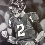 "THE ICEMAN COMETH - The Atlanta Falcons have surprised everyone by romping their way to Superbowl 51, led by this man, quarterback Matt Ryan (Matty 'Ice""). Done on 12x9"" box canvas in acrylics (JAN '17) NOT FOR SALE YET"