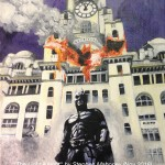 "THE LIGHT KNIGHT - a further piece of  ""hybrid art"" painted from my own photograph of the Liver Building combined with the front cover of Batman ""The Dark Knight"", done in acrylics on 12x9"" box canvas (NOV '16) NOT FOR SALE"